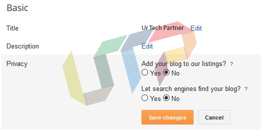 Change listing of your New Blog