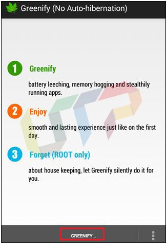 Greenify App to kill Background running Apps