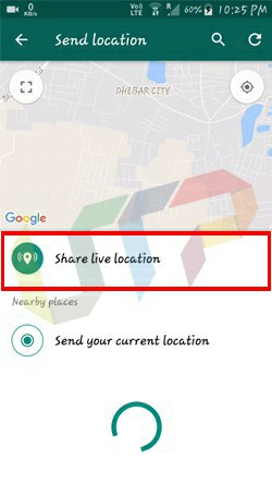Send Current Location on WhatsApp