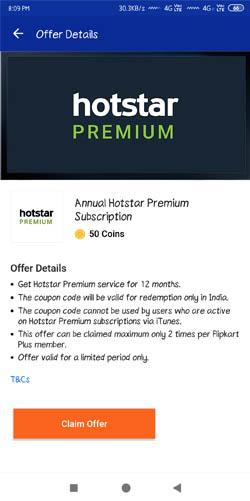 Hotstar Premium Subscription Via Flipkart