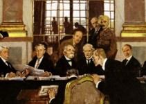 ilustrasi dari perjanjian versailles yang terjadi di paris, prancis