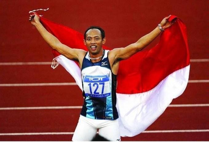 pada ajang sea games 2009, atlet lari indonesia ini berhasil juara