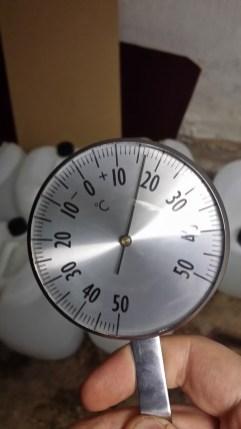 Temperatur efter fyra timmars uppvärmning med fotogenvärmare