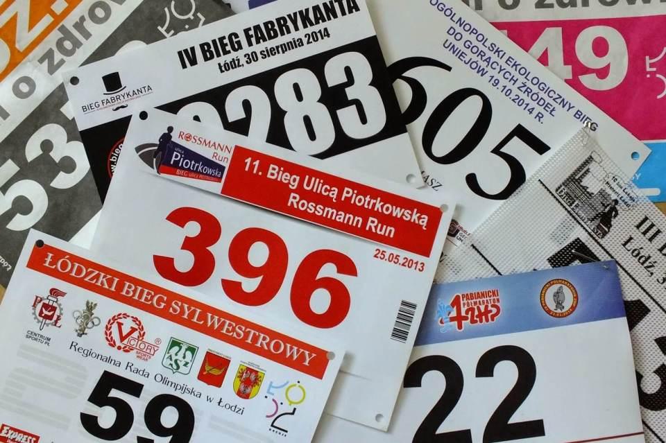 numery startowe, zawody biegowe, łódzkie