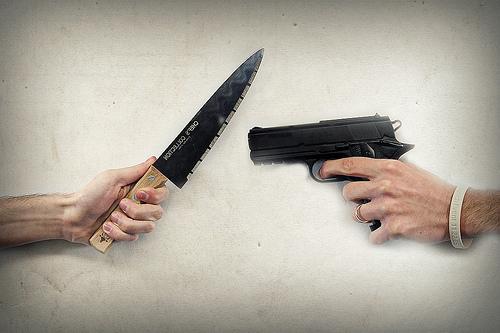 knife gun fight