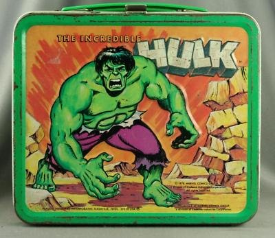 vintage metal lunch box aladdin incredible hulk