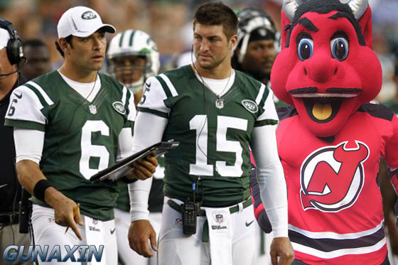 NJ Devil Mascot Jets Tebow