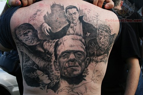 horror tattoos on back body