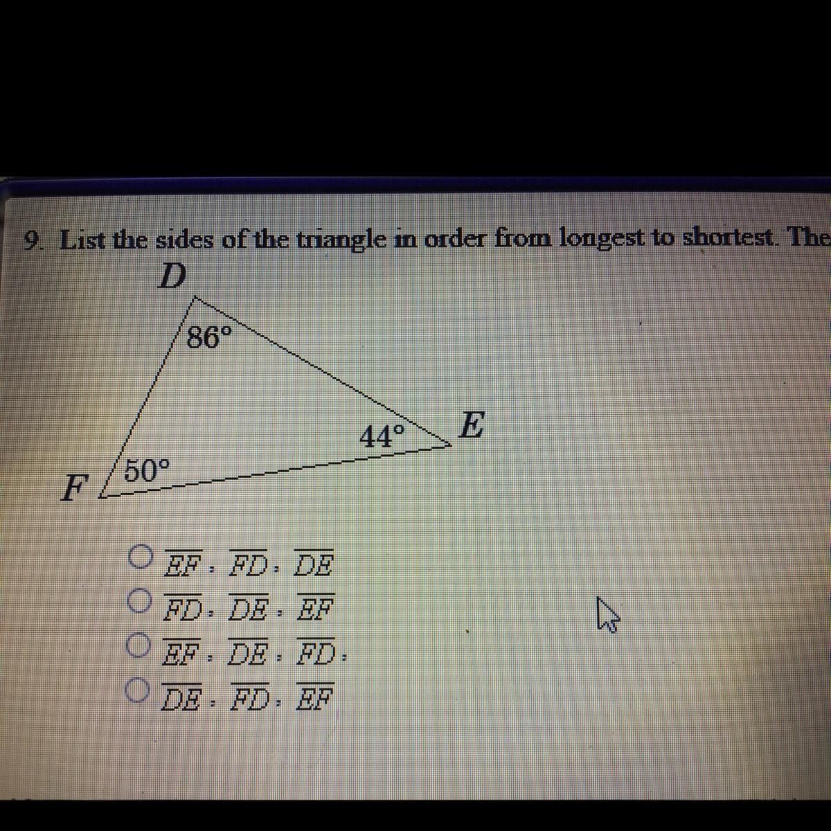 List The Sides Of The Triangle In Order From Longest To