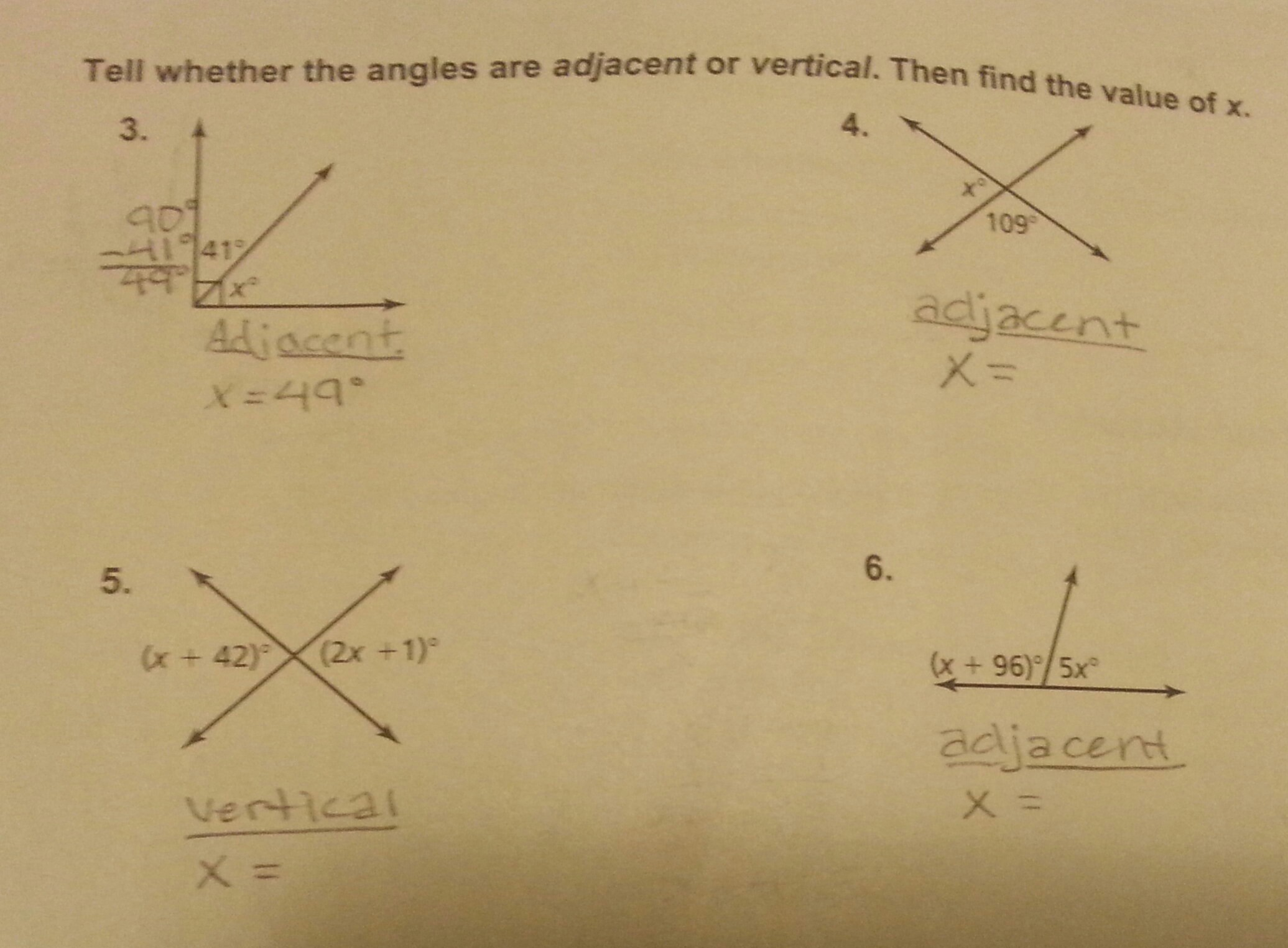 Tell Whether The Angles Are Adjacent Or Vertical Then