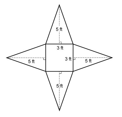 What is the surface area of the square pyramid represented