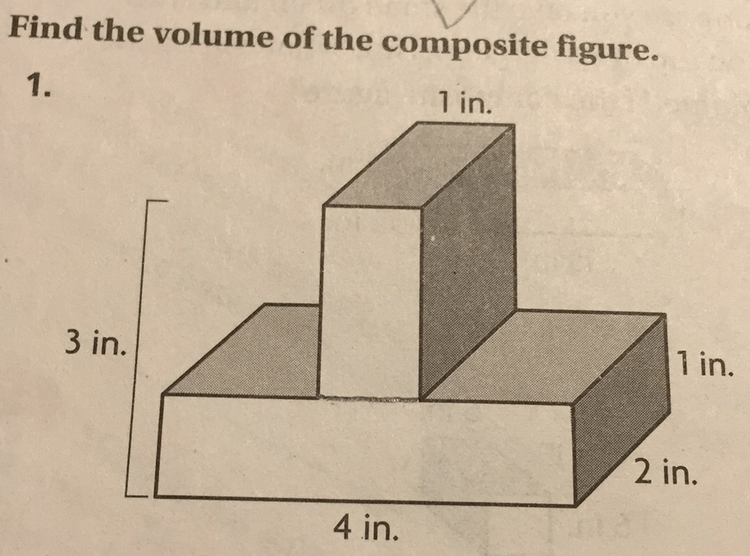 Find The Volume Of The Composite Figure 1 In 3 In 1 In