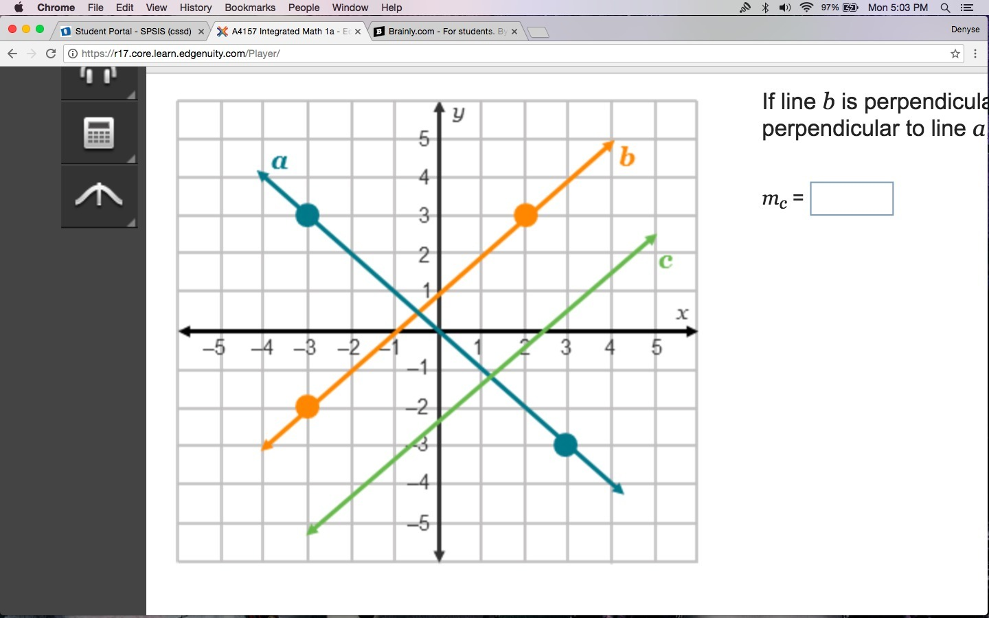 If line b is perpendicular to line a, and line c is