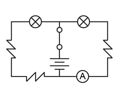 The circuit diagram shows a circuit containing several