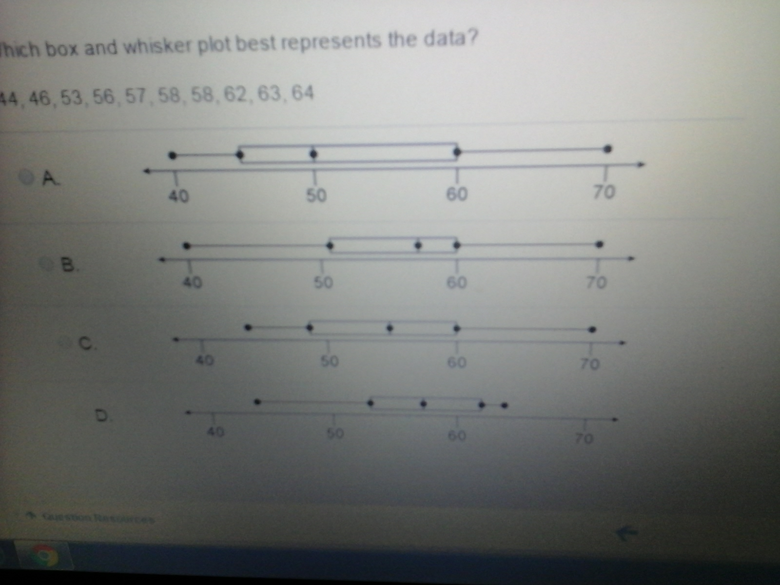 Which Box And Whisker Plot Best Represents The Data 44