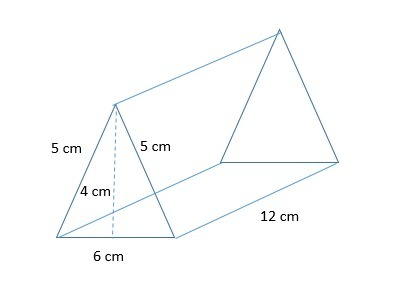 What is the surface area of the triangular prism? A) 144