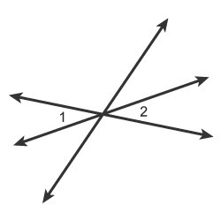 Which relationship describes angles 1 and 2? complementary