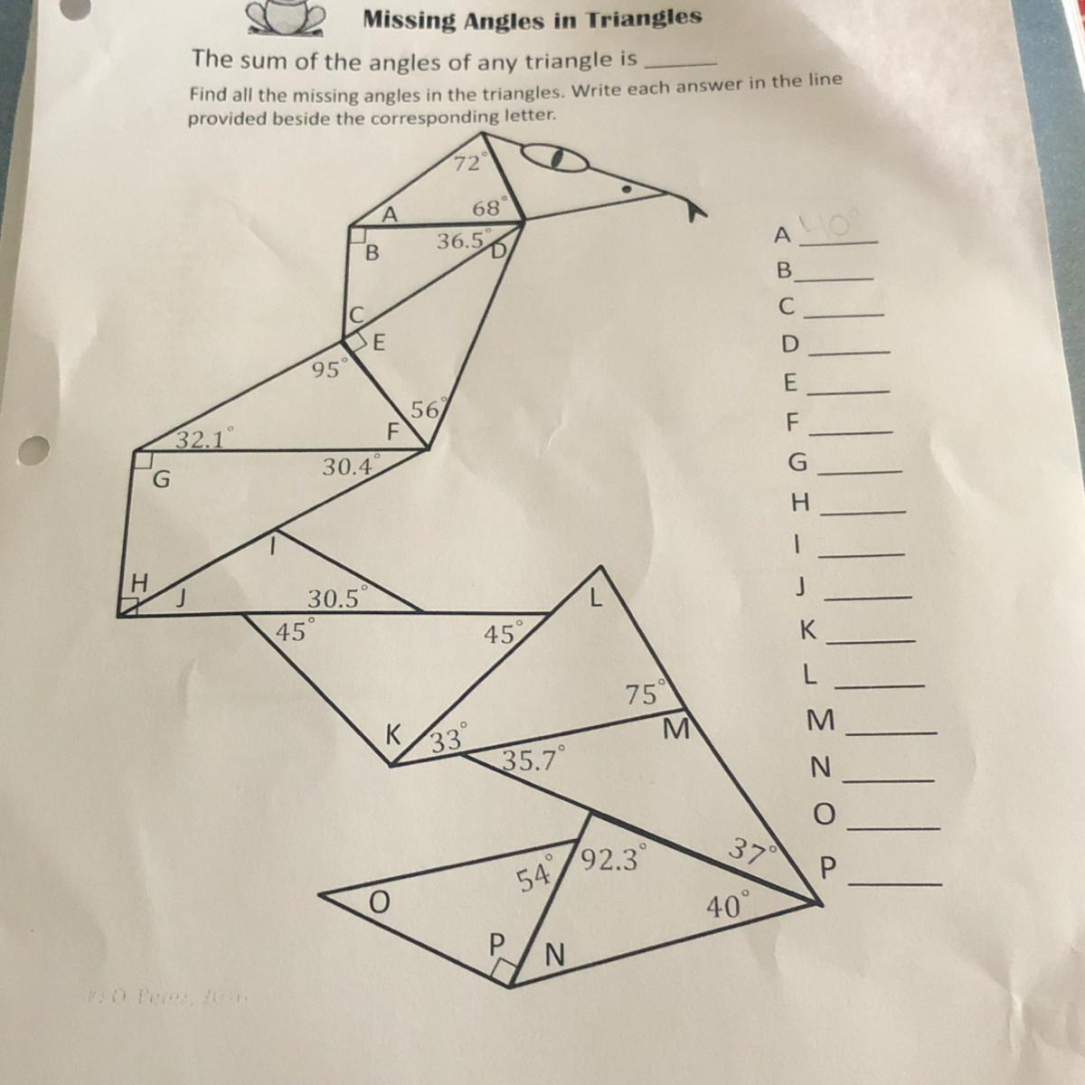 Missing Angles In Triangles Worksheet