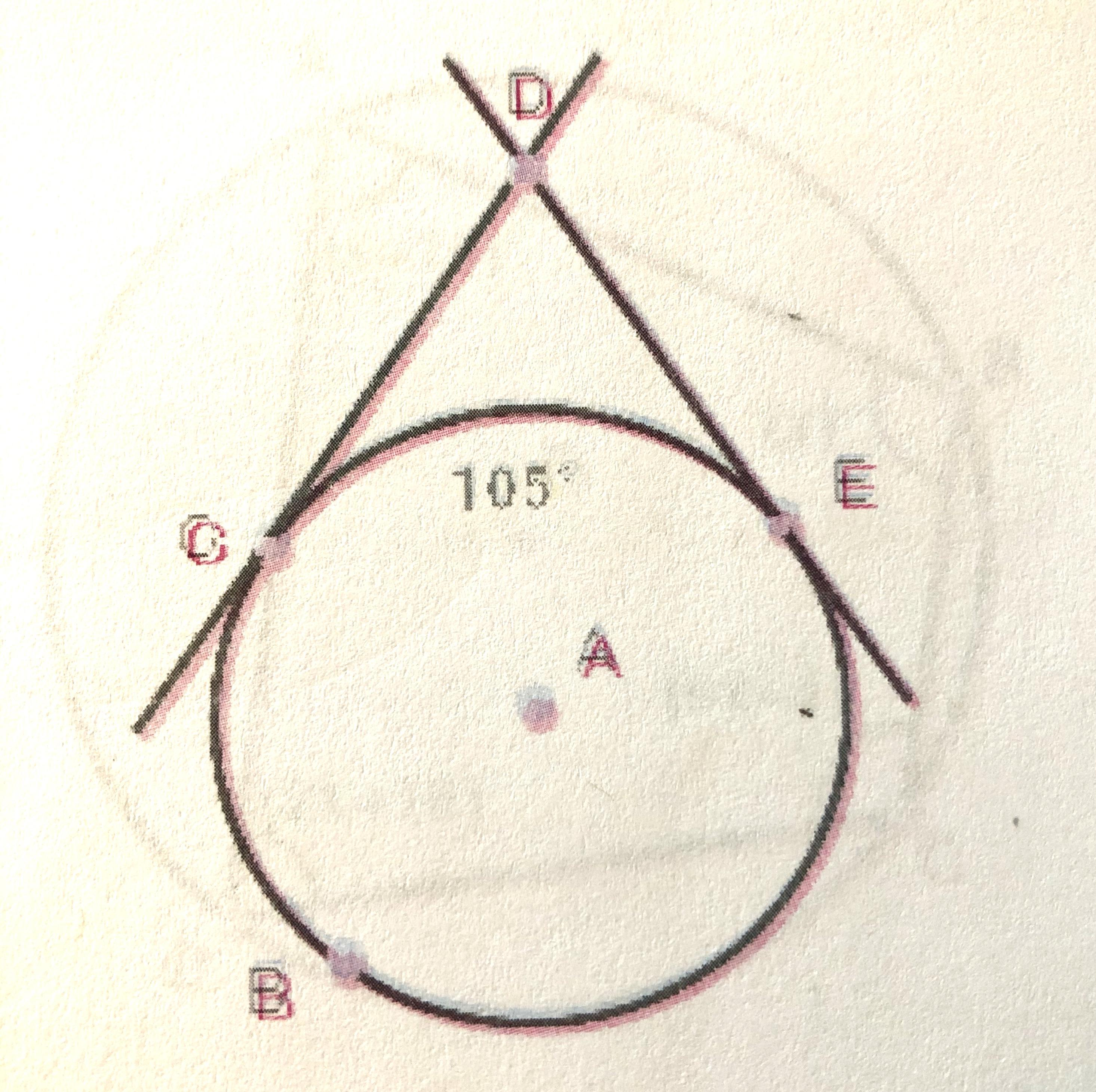 Lines Cd And De Are Tangent To Circle A As Shown Below If