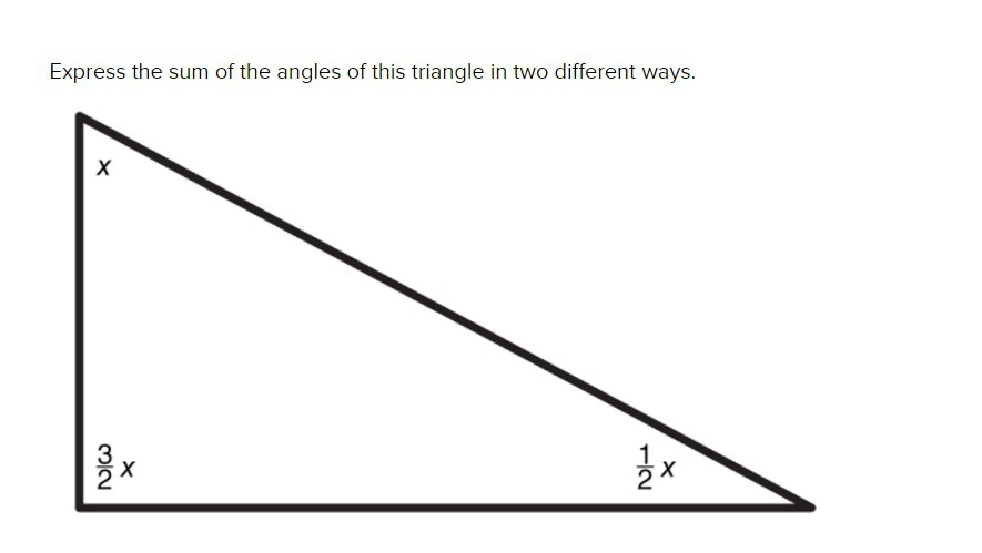 Express the sum of the angles of this triangle in two