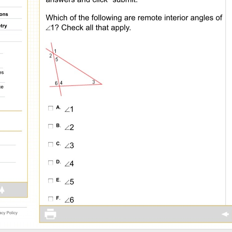 Which of the following are remote interior angles of 1