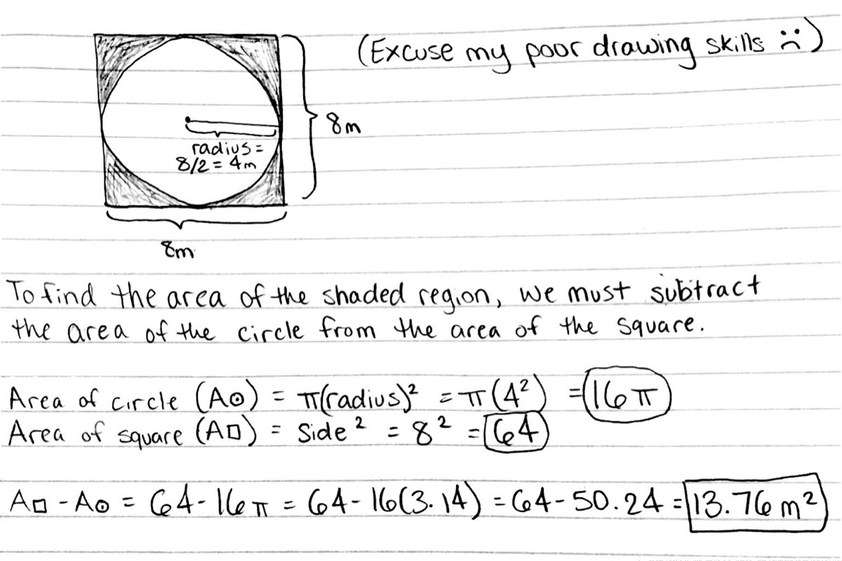 A Circle Is Inside A Square As Shown What Is The Area Of