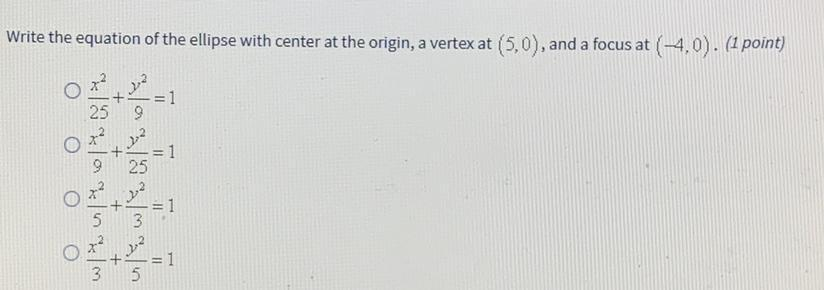 Write the equation of the ellipse with center at the