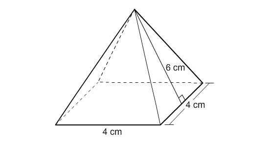 What is the surface area of the pyramid to the nearest