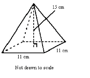 Find the volume of the square pyramid shown. Round to the