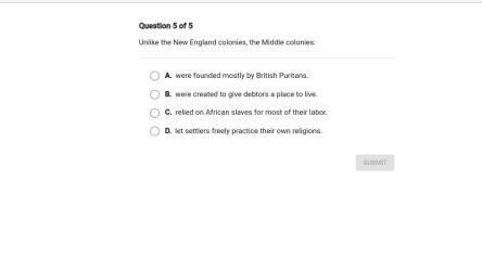 Unlike the New england colonies the middle colonies: Brainly com