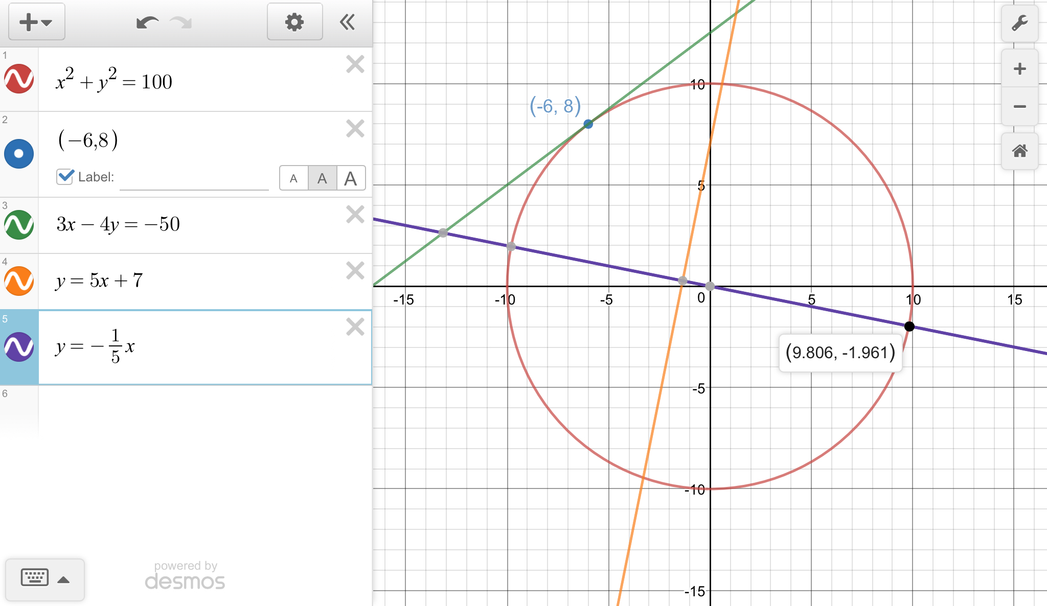 Equation Of A Circle With Radius 10
