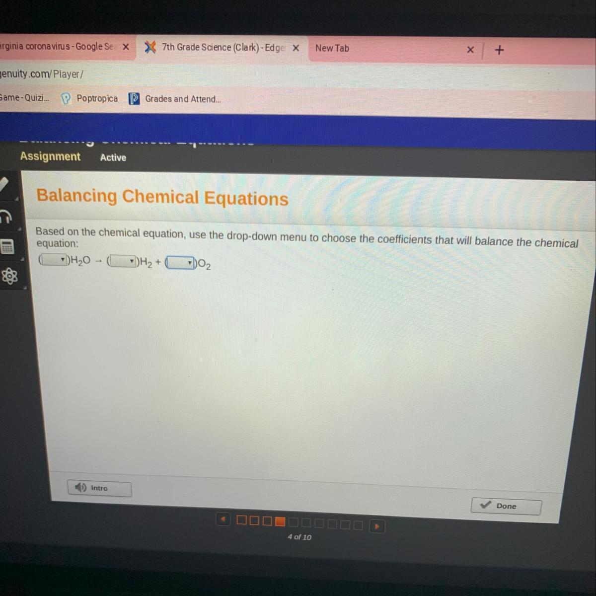 Based On The Chemical Equation Use The Drop Down Menu To