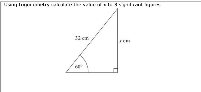 using trigonometry calculate the value of x to 3