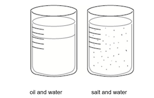 Which of these beakers contains a solution? Explain the