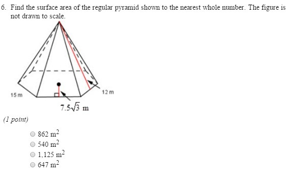 Find the surface area of the regular pyramid shown to the