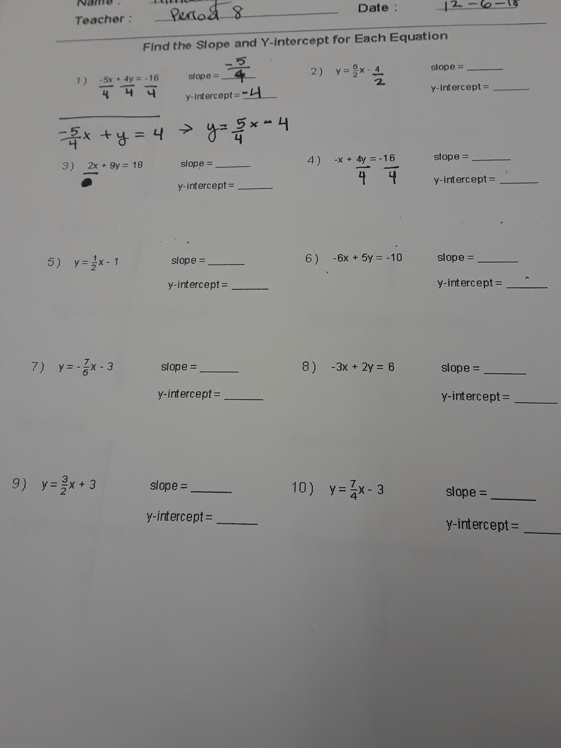 Find The Slope And Y Intercept For Each Equationease