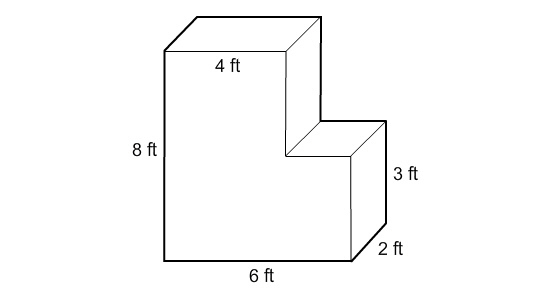 A smaller rectangular prism has been cut out of a larger
