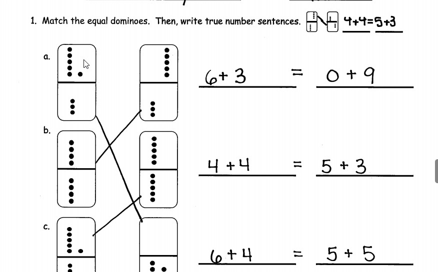 Match the equal dominoes , then write true number