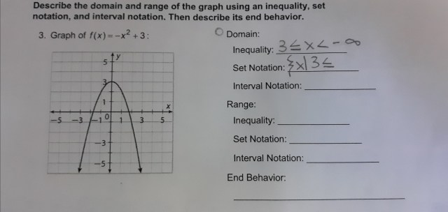Could you please help with this question for domain, range, and