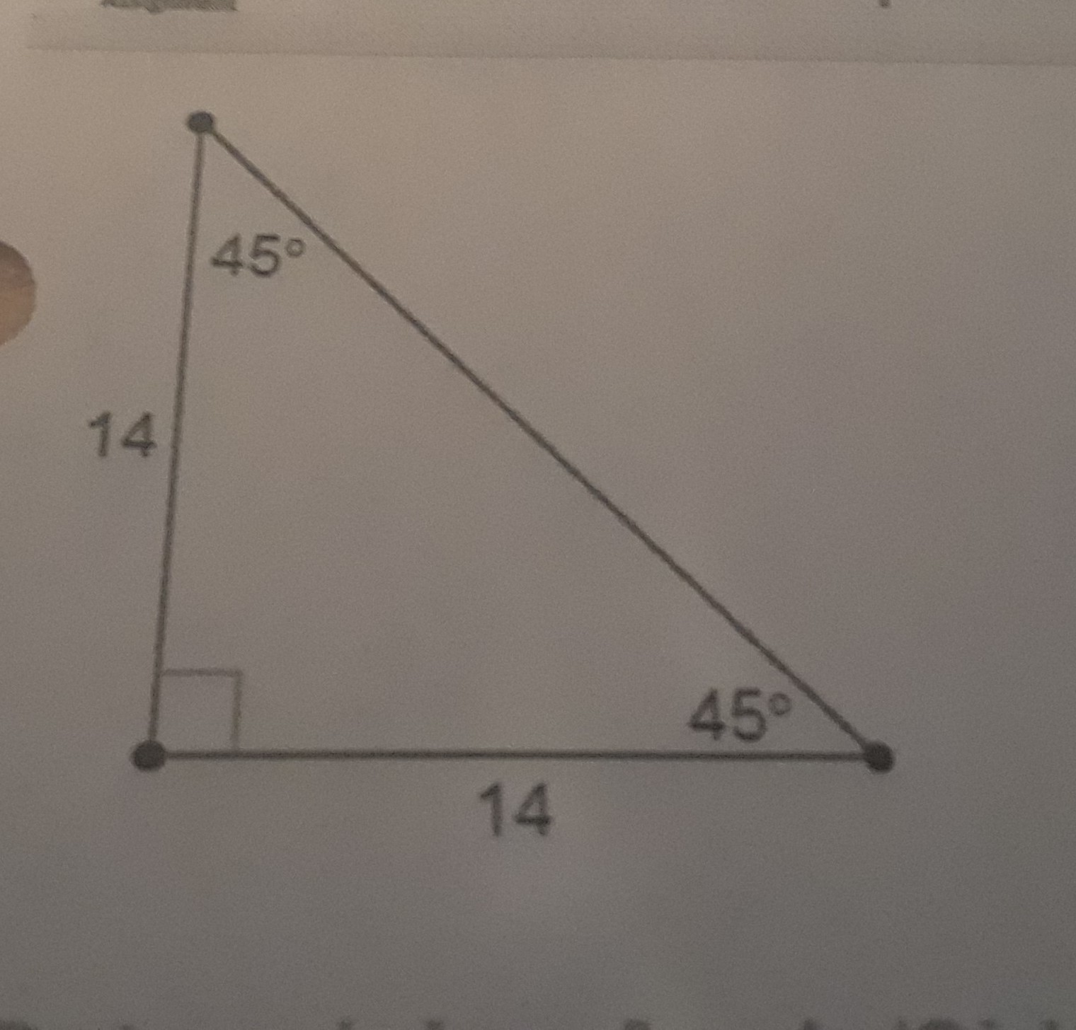 Each Leg Of A 45 45 90 Triangle Measures 14 Cm What