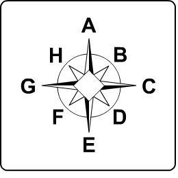 Look at the compass rose. The letter A represents north