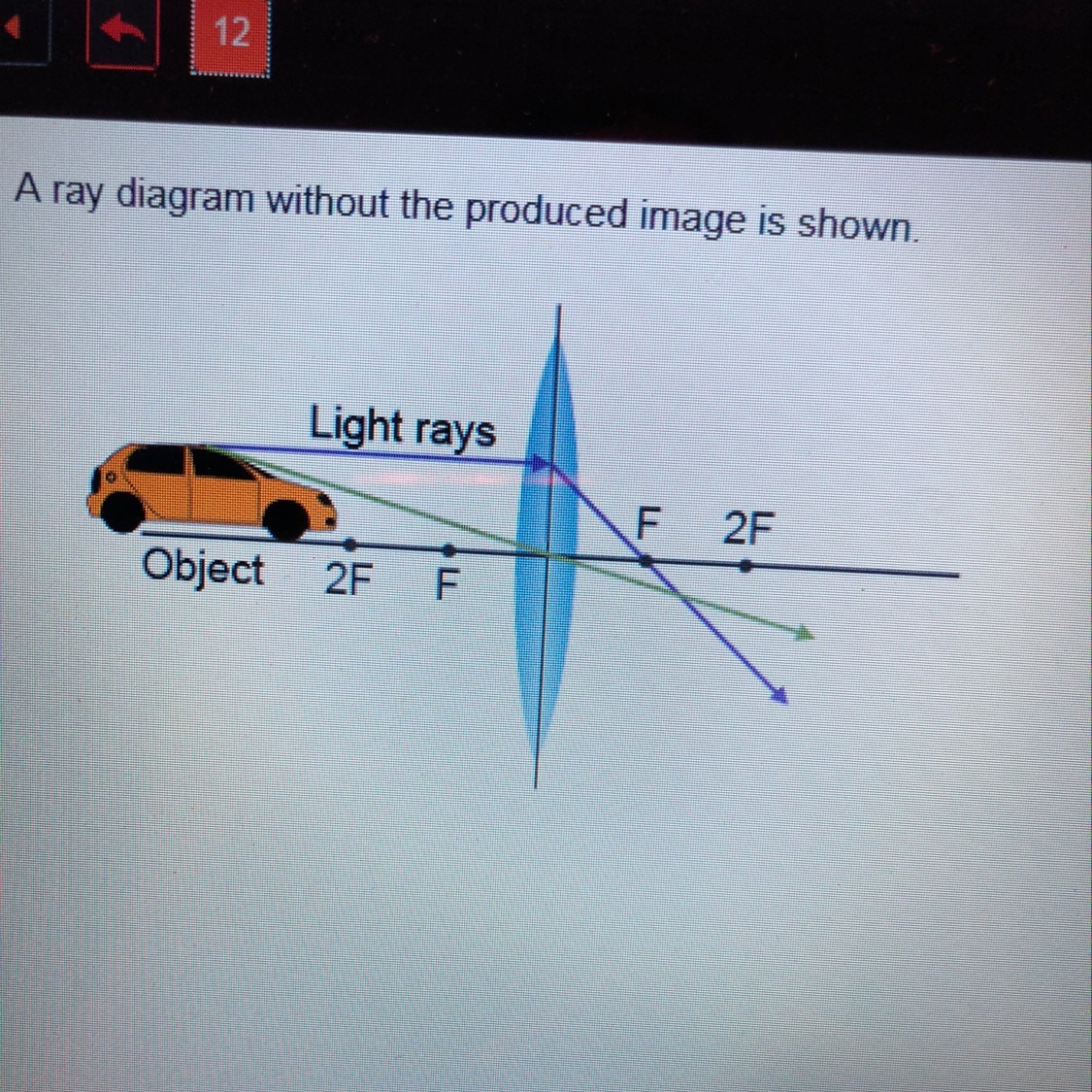 hight resolution of a ray diagram without the produced image is shown which described the image produced by the lens a real and larger than the object