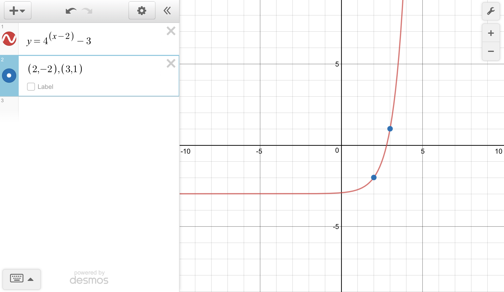 The Graph Of A Translated Exponential Function Is Shown