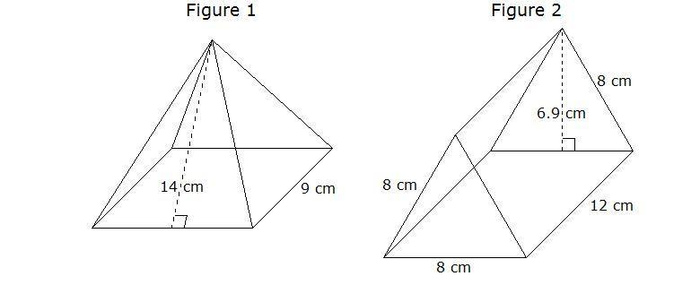 Figure 1 is a square pyramid. Figure 2 is a right