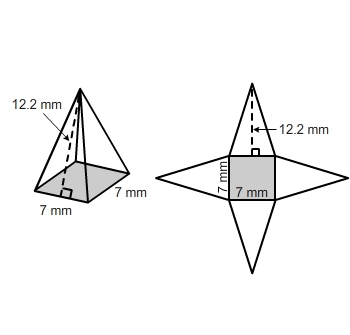What is the surface area of the square pyramid? Use the