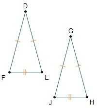 Triangle DEF is congruent to GHJ by the SSS theorem. Which