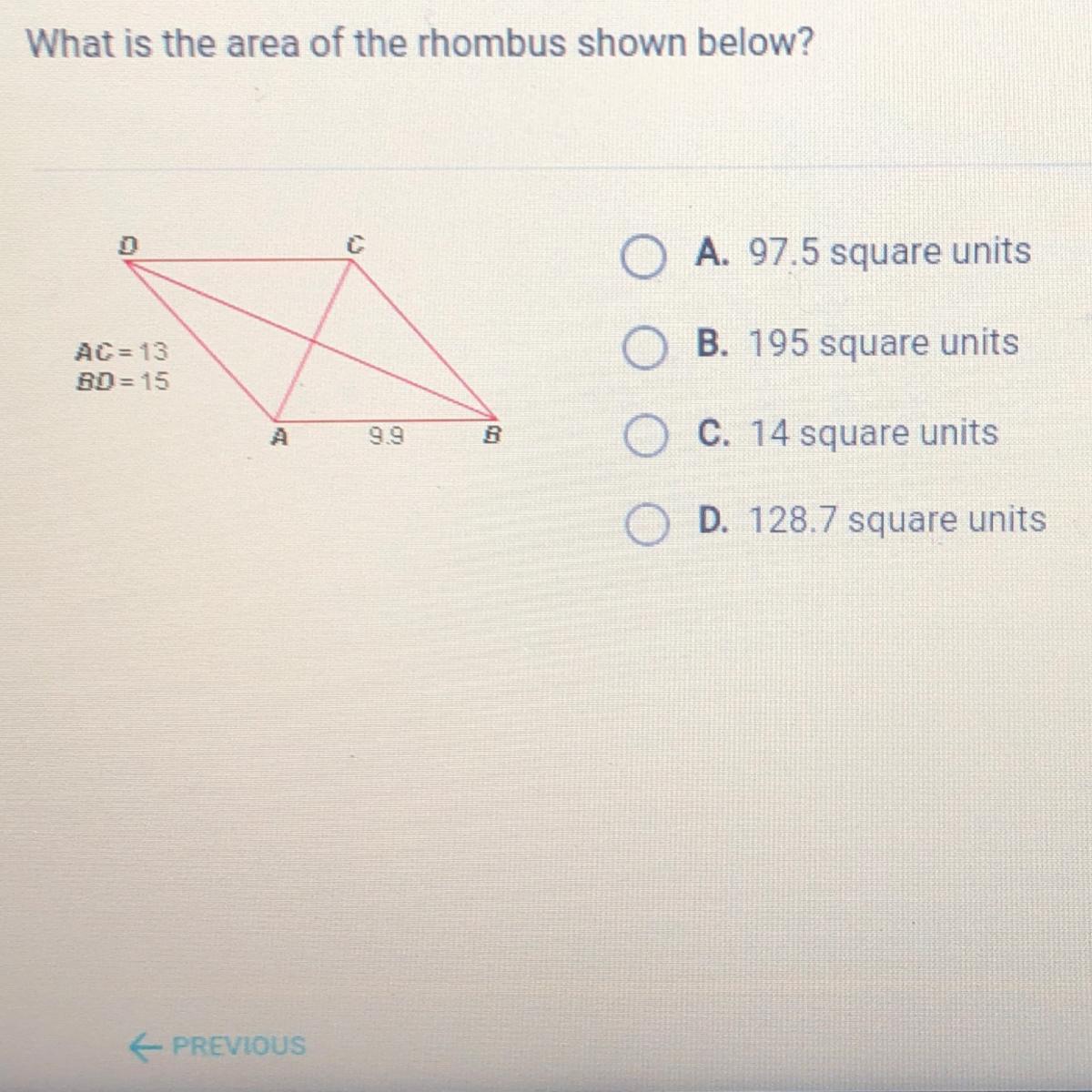 Area Of The Rhombus Shown Below