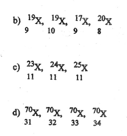 Identify atoms that are isotopes in each of the following
