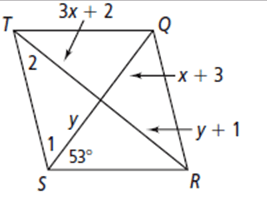 Use rhombus TQRS below for questions 1–4. 1. What is the