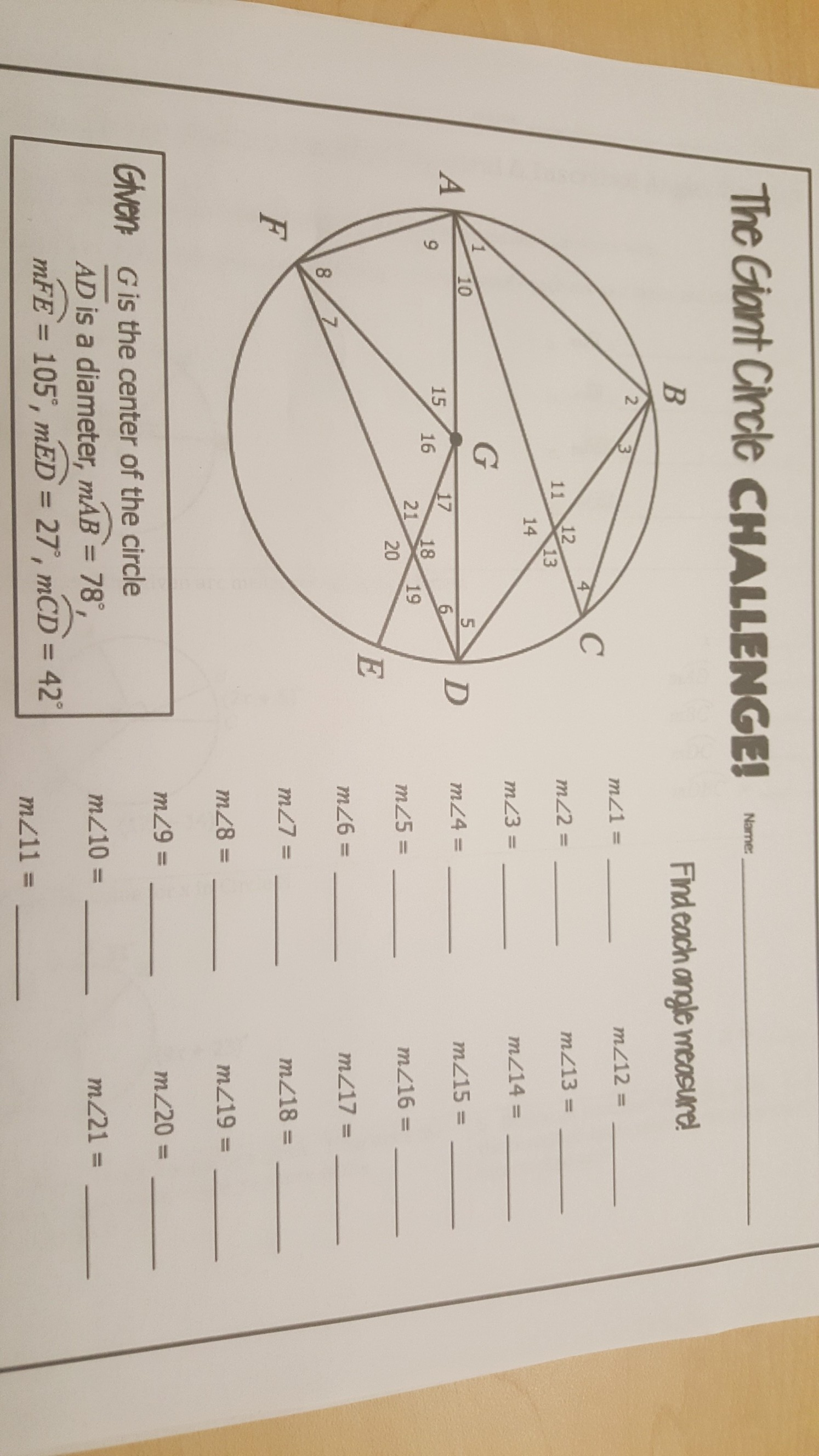 The Giant Circle Challenge Worksheet